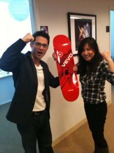 Doug and Helena Flexing with the skateboard