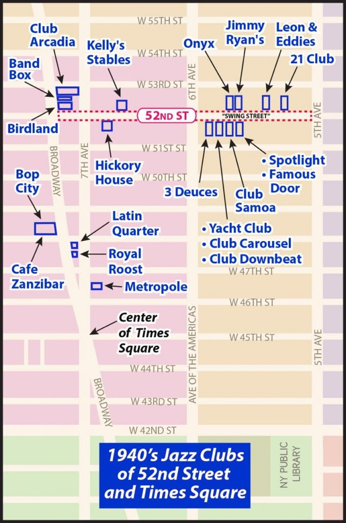 Locations of Jazz Clubs in New York City 52nd Street