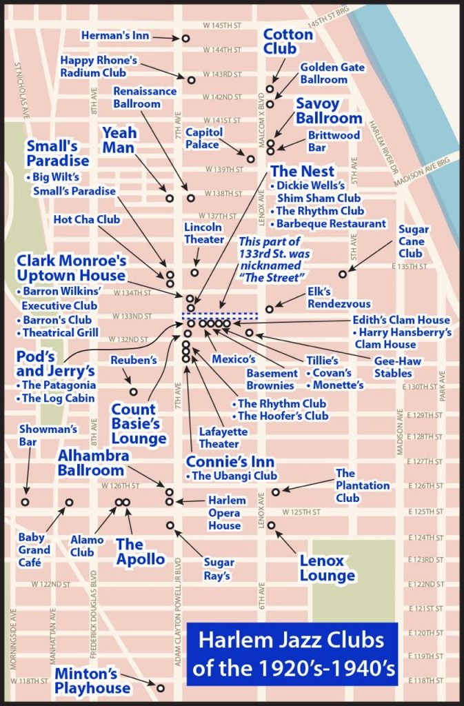 Locations of Jazz Clubs in New York City Harlem