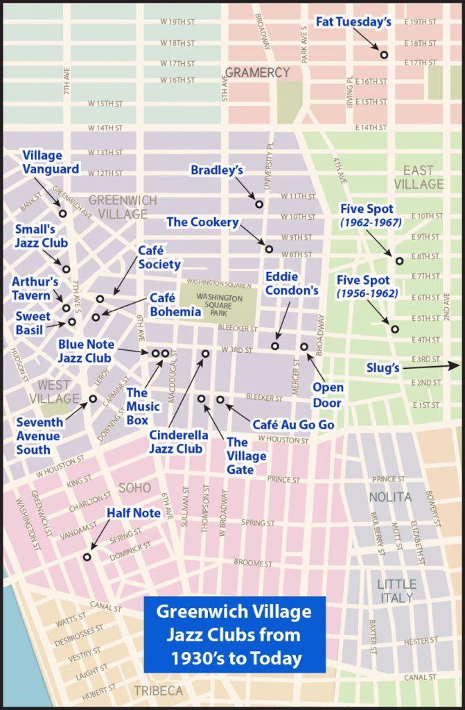 Locations of Jazz Clubs in New York City Greenwich Village
